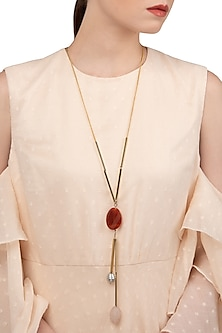Gold Finish Rose Quartz and Pearl Necklace