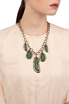 Gold Finish Antique Green Stones Necklace
