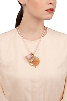 Gold Finish Pink Cord Necklace