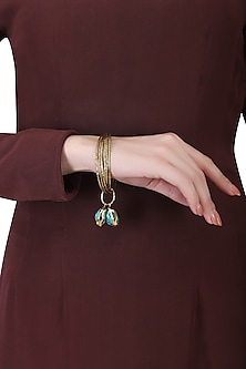 Set of 6 gold plated turquoise stone bangles