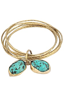 Set of 6 gold plated turquoise stone bangles by ANJALI JAIN