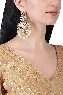 Gold plated polki and pearls chandbali earrings