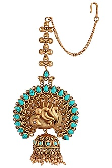 Gold plated turquoise stone and pearl earrings by Anjali Jain