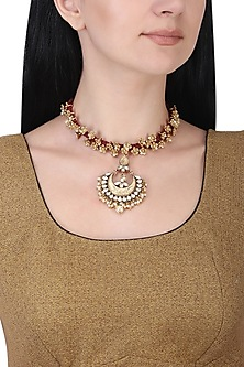 Gold plated kundan red cord necklace