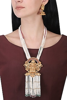 Gold plated pearl strings necklace set by Anjali Jain