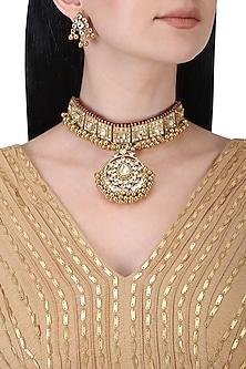 Gold plated kundan choker necklace set
