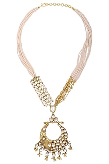 Gold plated kundan and pearl string necklace by Anjali Jain