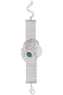 Silver plated american diamond and onyx bracelet by Anjali Jain