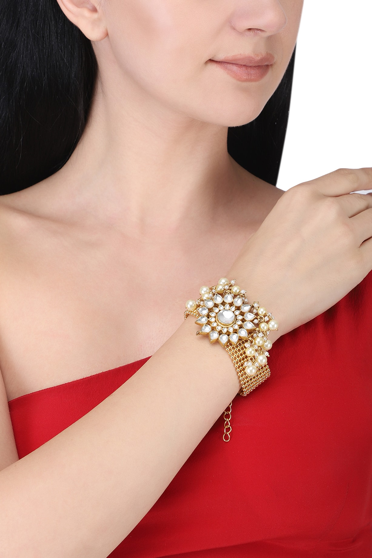 Gold Plated Kundan And Pearls Bracelet Design By Anjali Jain At