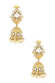 Antique Gold Finish Polki and Pearl Textured Jhumki Earrings by Anjali Jain