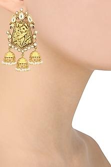 Gold Plated Three Jhumki Drop Earrings