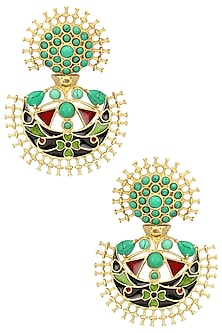 Gold Plated Turquoise Stone and Enamel Earrings by Anjali Jain