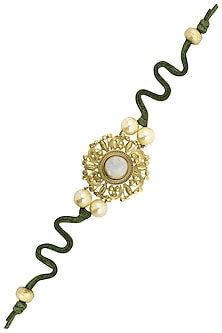 Gold Plated Gold Disc Rakhi with Moon Stone and Pearls
