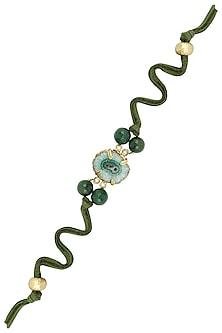 Gold Plated Rakhi Oval Shaped Blue Druzi Stone with Green Beads
