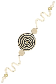 Wooden and Thread Rakhi with An Ivory and Black Jute Disc
