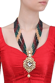 Gold Finish Polki and Navratan Stones Multilayer Necklace by Anjali Jain