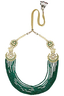 Gold Finish Green and Polki Stone Multilayer Necklace by Anjali Jain