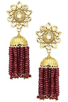 Antique Gold Finish Ruby Tasseled Jhumki Earrings by Anjali Jain