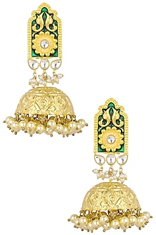 Antique Gold Finish Green Enamel Jhumki Earrings by Anjali Jain