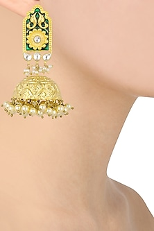 Antique Gold Finish Green Enamel Jhumki Earrings by Anjali Jain