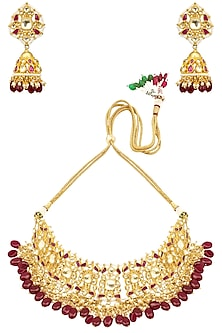 Gold Finish Kundan and Red Stones Jaal Choker Necklace Set by Anjali Jain