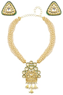 Gold Finish Textured Pendant Pearl Chain Necklace Set by Anjali Jain