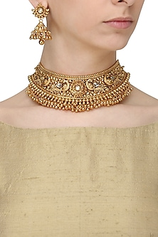Antique Gold Finish Kundan Stone Bird Choker Necklace Set