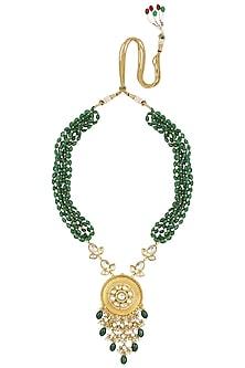 Gold Finish Kundan Stone Green Beads Necklace Set by Anjali Jain
