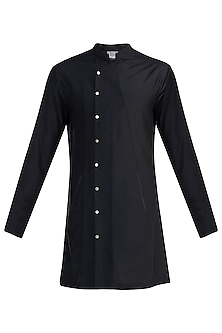 Black Structured Overlap Shirt