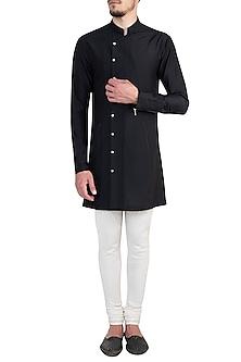 Black Structured Overlap Shirt by Rishta By Arjun Saluja Men