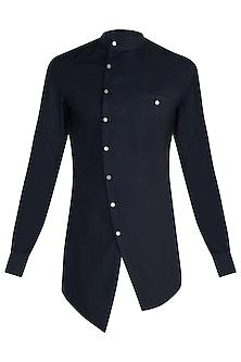 Navy Blue Asymmetrical Shirt