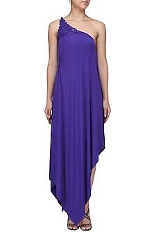 Royal Blue Embellished One Shoulder Draped Dress by Anuj Sharma