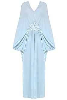 Sky Blue Half Moon Poncho Dress by Anuj Sharma