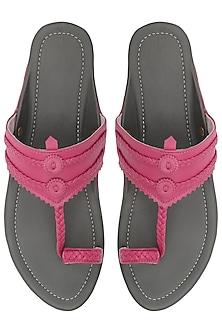 Pink and Grey Classic Kolhapuri Sandals by Aprajita Toor