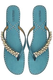 Electric Blue Classic Kolhapuri Sandal by Aprajita Toor