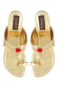 Gold block heels kolhapuri by Aprajita Toor