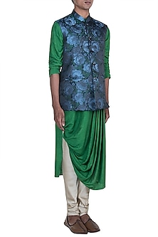 Green & Blue Printed Kurta Set With Jacket by Anju Agarwal