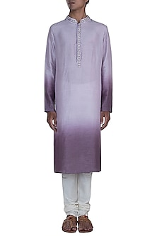 Mauve & Purple Embroidered Ombre Kurta With Churidaar Pants by Anju Agarwal
