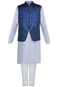 Grey Kurta Set With Blue Embroidered Jacket by Anju Agarwal
