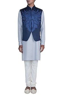 Grey Kurta Set With Blue Embroidered Jacket by Anju Agarwal