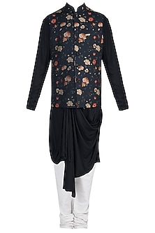Black Kurta Set With Printed Jacket by Anju Agarwal