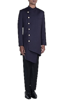 Purple Off-Centre Sherwani With Straight Fit Pants by Anju Agarwal