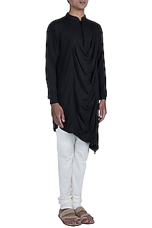 Matt Black Cowl Neck Kurta With Churidar Pants by Anju Agarwal