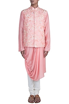 Pink Kurta Set With Embroidered Jacket by Anju Agarwal