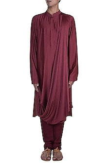 Maroon Cowl Kurta With Churidar Pants by Anju Agarwal