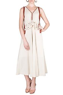 Beige & Brown V-Neck Dress by Akashi
