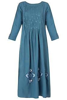 Denim blue embroidered dress by Akashi