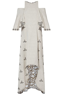 Khadi embroidered high low dress