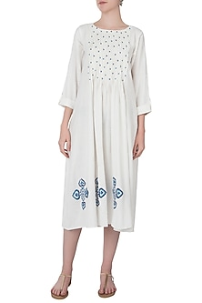 White embroidered pin tuck dress by Akashi