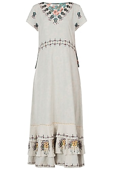 Khadi embroidered frill maxi dress